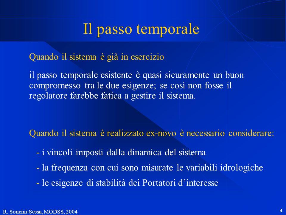 R. Soncini-Sessa, MODSS, 2004 4 Il passo temporale Quando il sistema è già in esercizio il passo temporale esistente è quasi sicuramente un buon compr