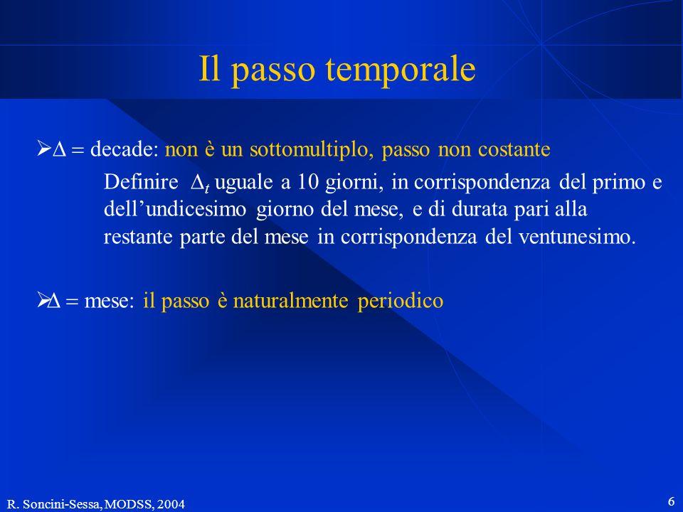 R. Soncini-Sessa, MODSS, 2004 6 decade: non è un sottomultiplo, passo non costante Definire t uguale a 10 giorni, in corrispondenza del primo e dellun