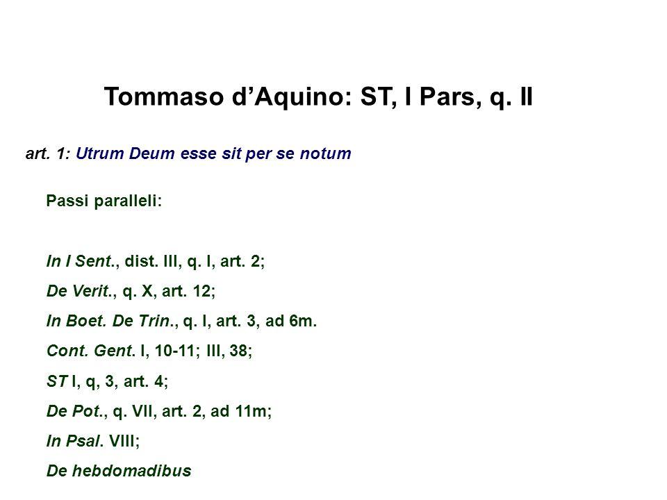 Tommaso dAquino: ST, I Pars, q. II art. 1: Utrum Deum esse sit per se notum Passi paralleli: In I Sent., dist. III, q. I, art. 2; De Verit., q. X, art