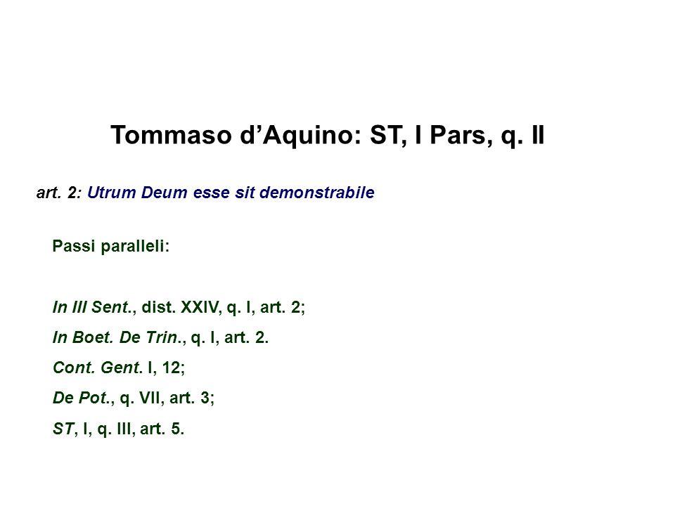 Tommaso dAquino: ST, I Pars, q. II art. 2: Utrum Deum esse sit demonstrabile Passi paralleli: In III Sent., dist. XXIV, q. I, art. 2; In Boet. De Trin