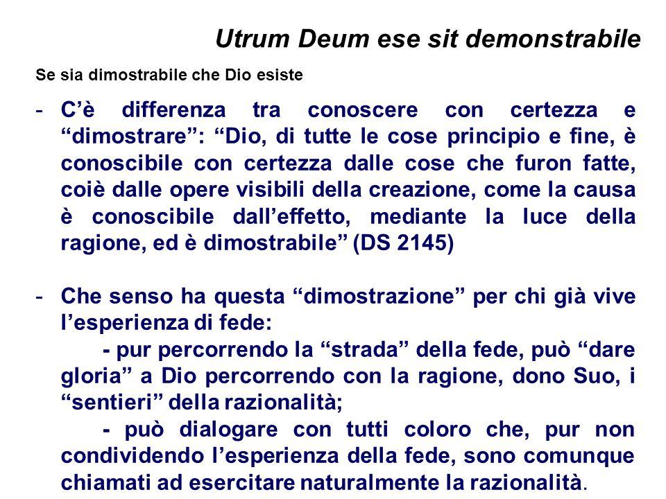 Utrum Deum ese sit demonstrabile Se sia dimostrabile che Dio esiste -Cè differenza tra conoscere con certezza e dimostrare: Dio, di tutte le cose prin