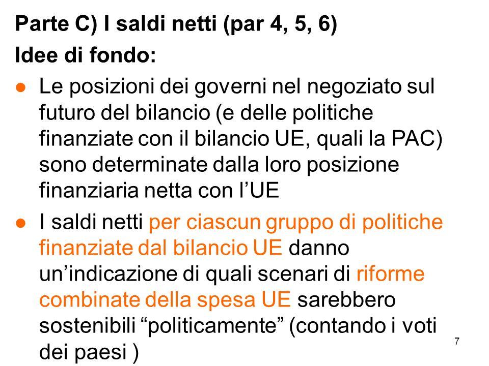 8 Qualche perplessità di fondo sulloperazione l Le posizioni negoziali dei governi quanto sono determinate dai saldi netti.