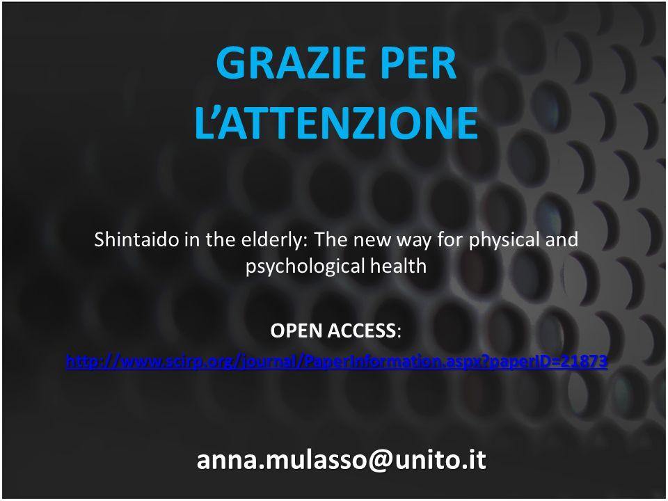 GRAZIE PER LATTENZIONE anna.mulasso@unito.it Shintaido in the elderly: The new way for physical and psychological health OPEN ACCESS: http://www.scirp