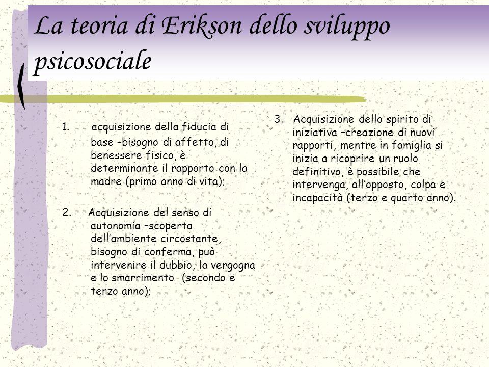 La teoria di Erikson dello sviluppo psicosociale Anche secondo E. esistono istinti di base e la personalità consiste di Es - Io - Superio -, ma dà una