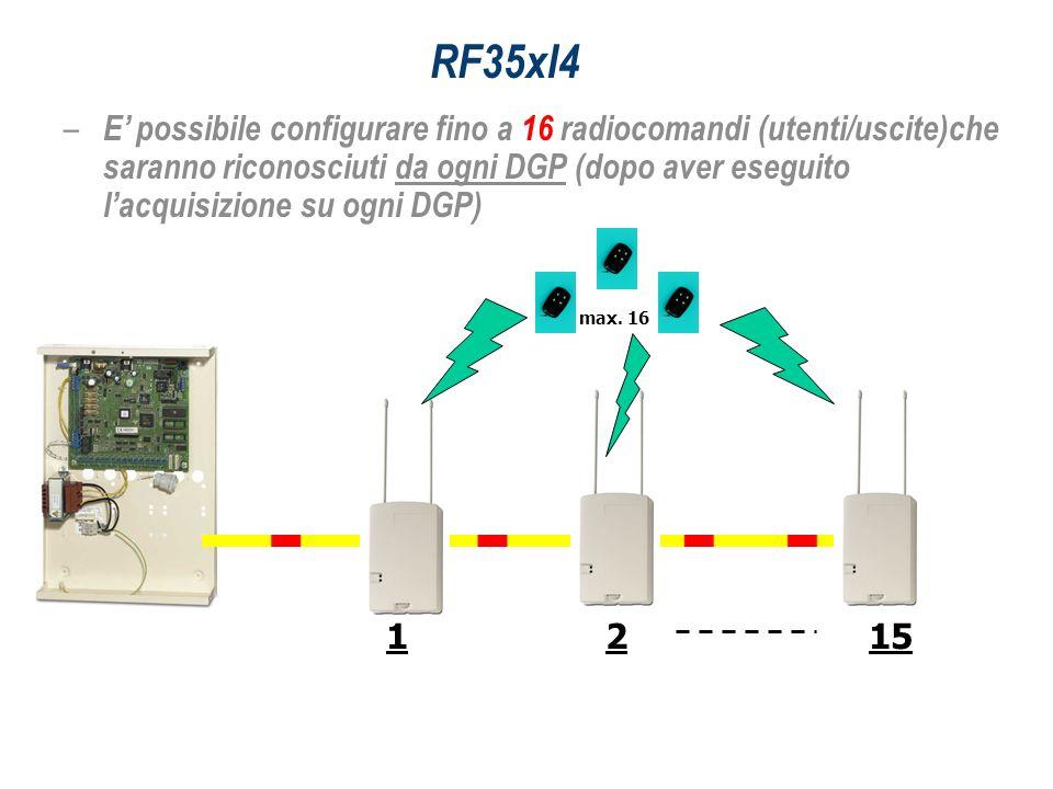 RF35xI4 – E possibile configurare fino a 16 radiocomandi (utenti/uscite)che saranno riconosciuti da ogni DGP (dopo aver eseguito lacquisizione su ogni