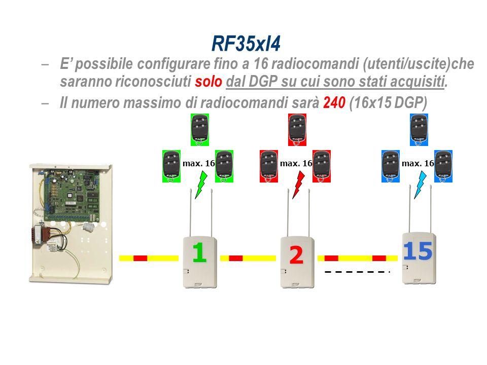 – E possibile configurare fino a 16 radiocomandi (utenti/uscite)che saranno riconosciuti solo dal DGP su cui sono stati acquisiti. – Il numero massimo