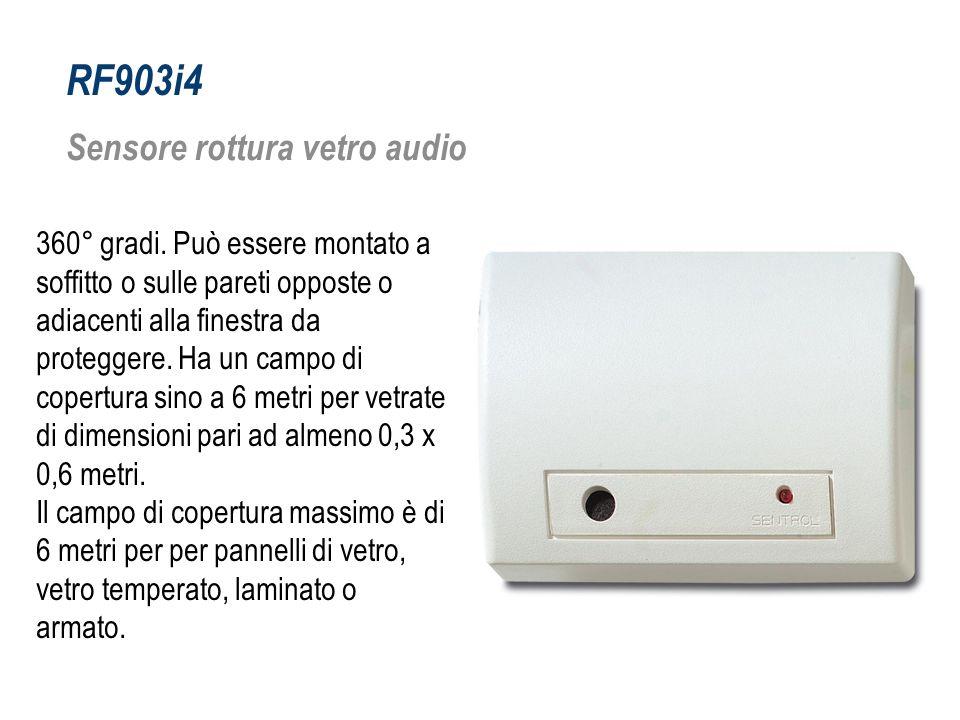 RF903i4 Sensore rottura vetro audio 360° gradi. Può essere montato a soffitto o sulle pareti opposte o adiacenti alla finestra da proteggere. Ha un ca