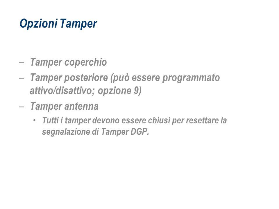 Opzioni Tamper – Tamper coperchio – Tamper posteriore (può essere programmato attivo/disattivo; opzione 9) – Tamper antenna Tutti i tamper devono esse