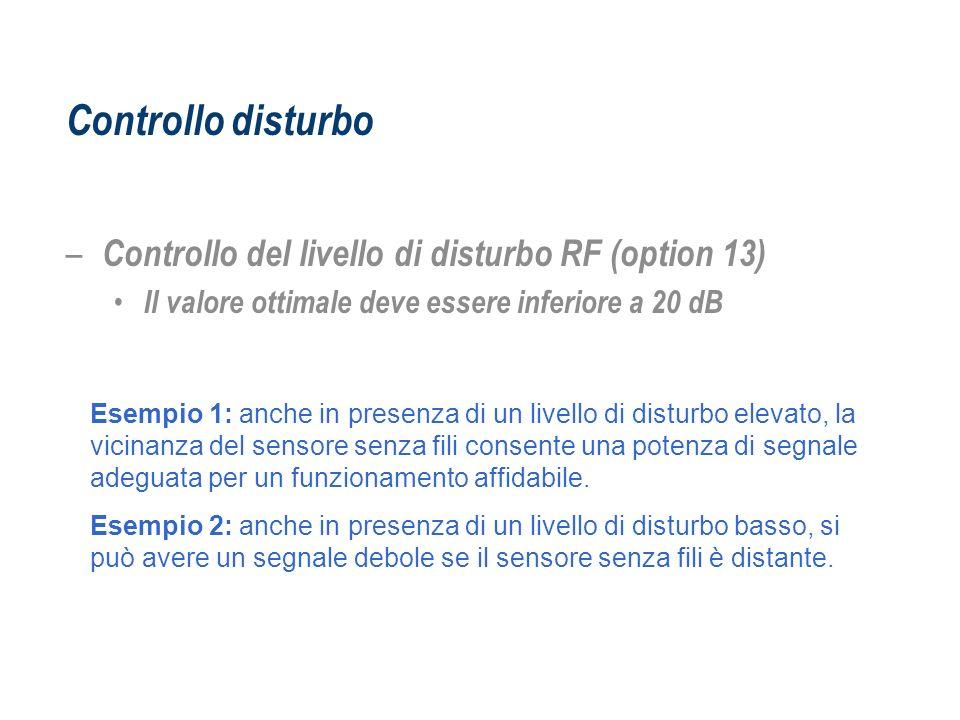 Controllo disturbo – Controllo del livello di disturbo RF (option 13) Il valore ottimale deve essere inferiore a 20 dB Esempio 1: anche in presenza di