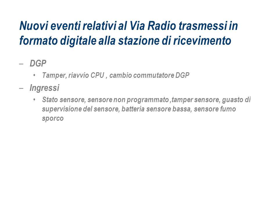 Nuovi eventi relativi al Via Radio trasmessi in formato digitale alla stazione di ricevimento – DGP Tamper, riavvio CPU, cambio commutatore DGP – Ingr