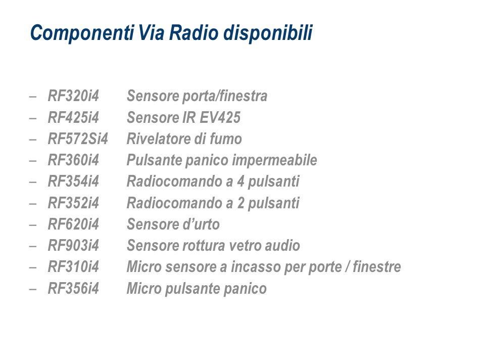 Componenti Via Radio disponibili – RF320i4 Sensore porta/finestra – RF425i4 Sensore IR EV425 – RF572Si4 Rivelatore di fumo – RF360i4 Pulsante panico i