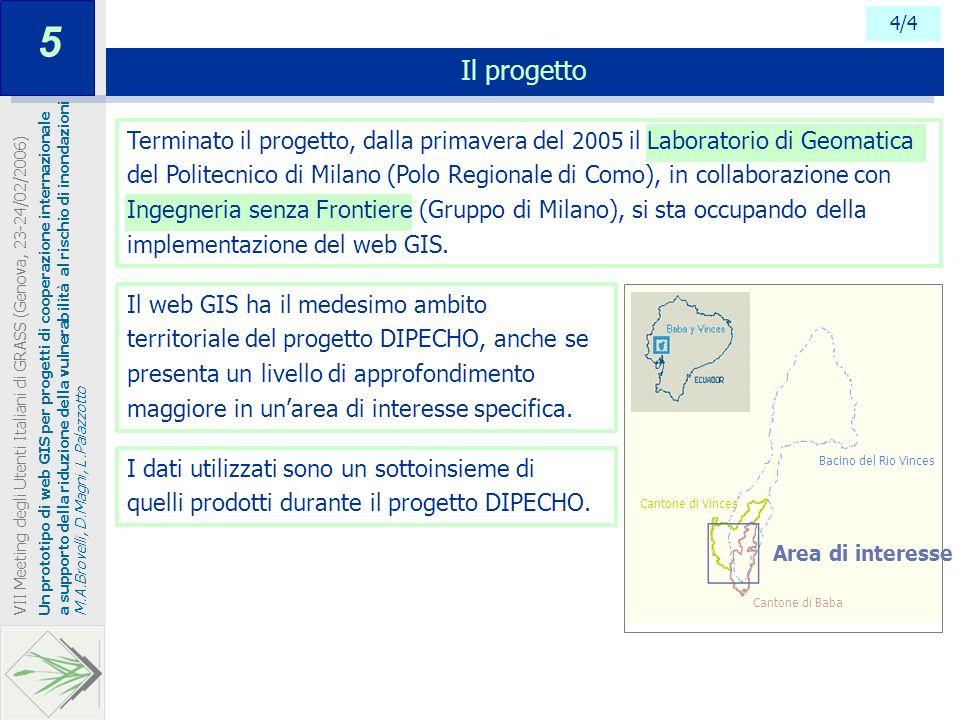 4/4 Il progetto Un prototipo di web GIS per progetti di cooperazione internazionale a supporto della riduzione della vulnerabilità al rischio di inond