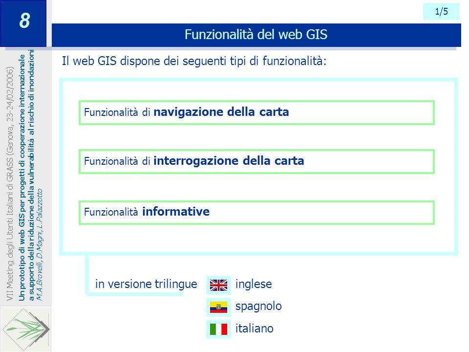 1/5 Funzionalità di navigazione della carta Funzionalità del web GIS Un prototipo di web GIS per progetti di cooperazione internazionale a supporto de