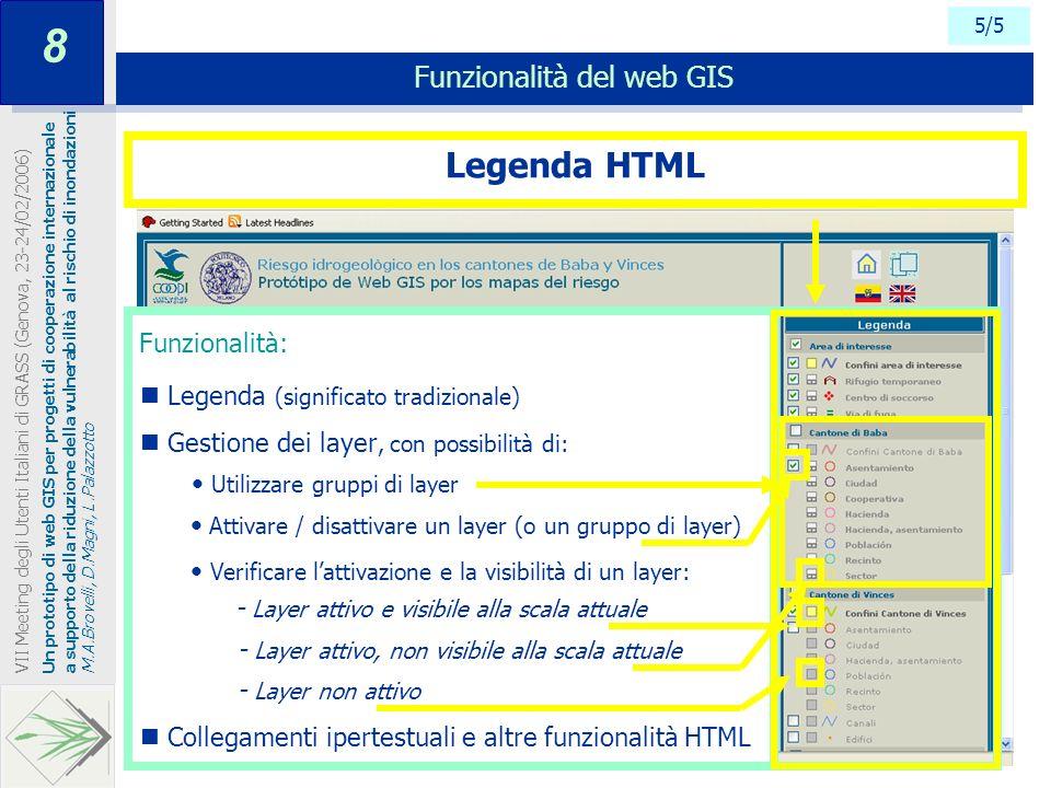 Funzionalità: 5/5 Funzionalità del web GIS Un prototipo di web GIS per progetti di cooperazione internazionale a supporto della riduzione della vulner