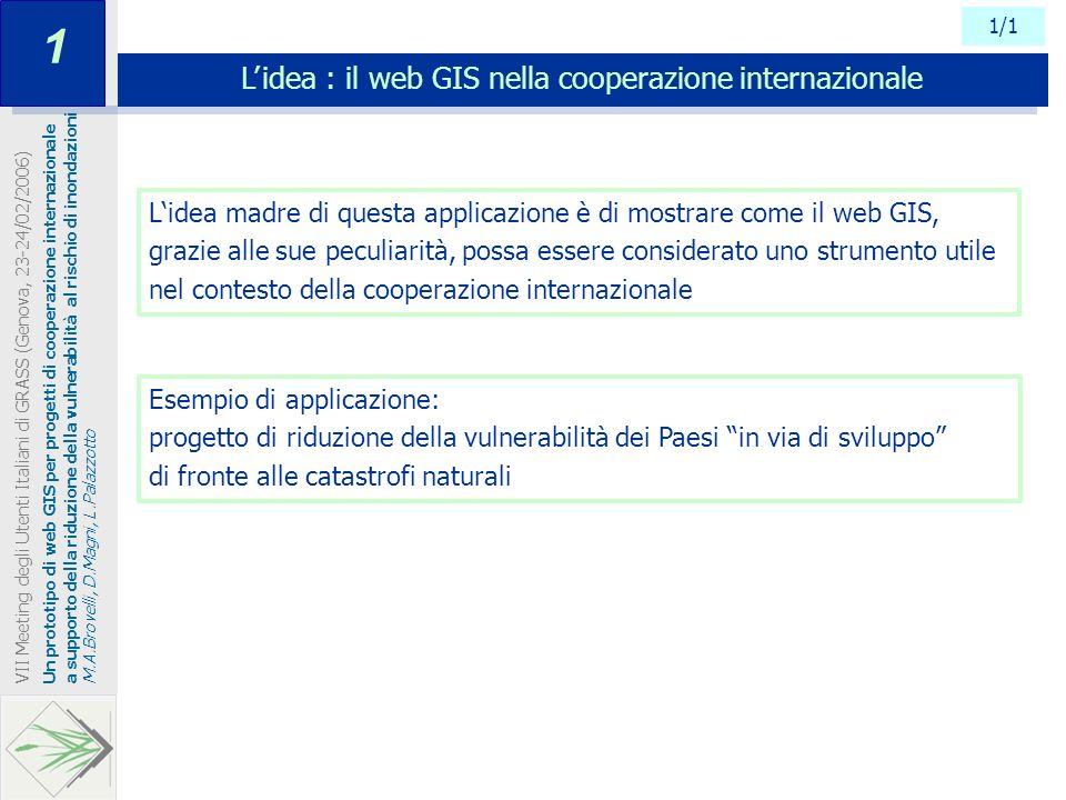 1/1 L idea : il web GIS nella cooperazione internazionale Un prototipo di web GIS per progetti di cooperazione internazionale a supporto della riduzio