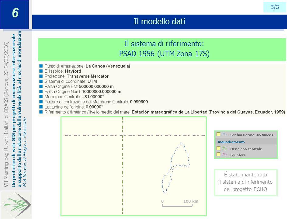 3/3 Il modello dati Un prototipo di web GIS per progetti di cooperazione internazionale a supporto della riduzione della vulnerabilità al rischio di i