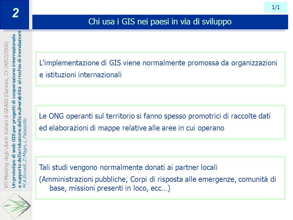 1/1 Chi usa i GIS nei paesi in via di sviluppo Un prototipo di web GIS per progetti di cooperazione internazionale a supporto della riduzione della vu