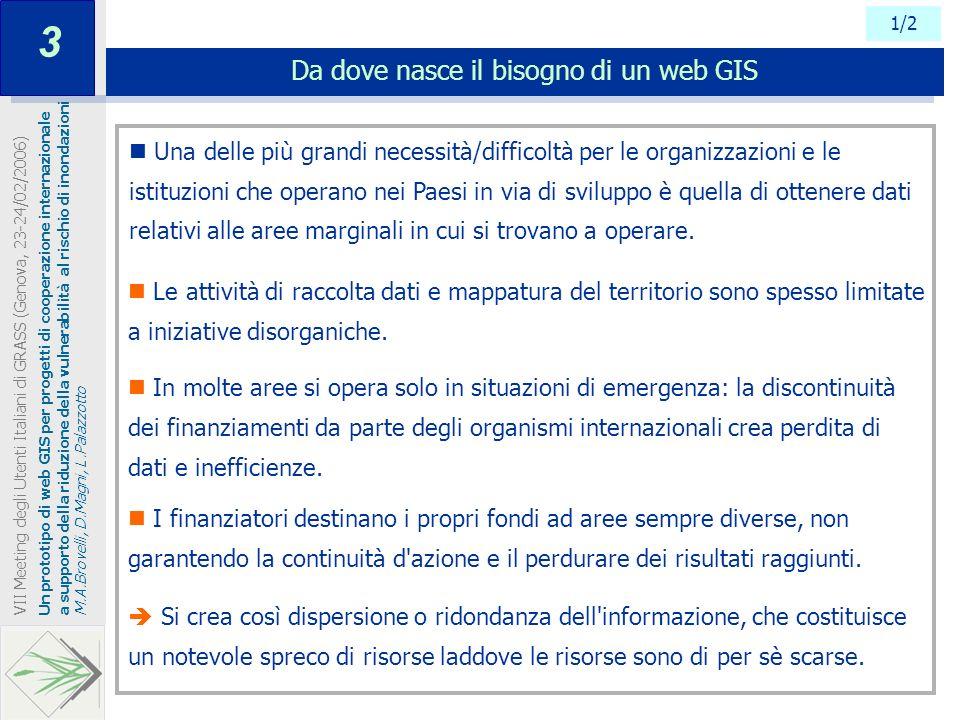 1/2 Da dove nasce il bisogno di un web GIS Un prototipo di web GIS per progetti di cooperazione internazionale a supporto della riduzione della vulner