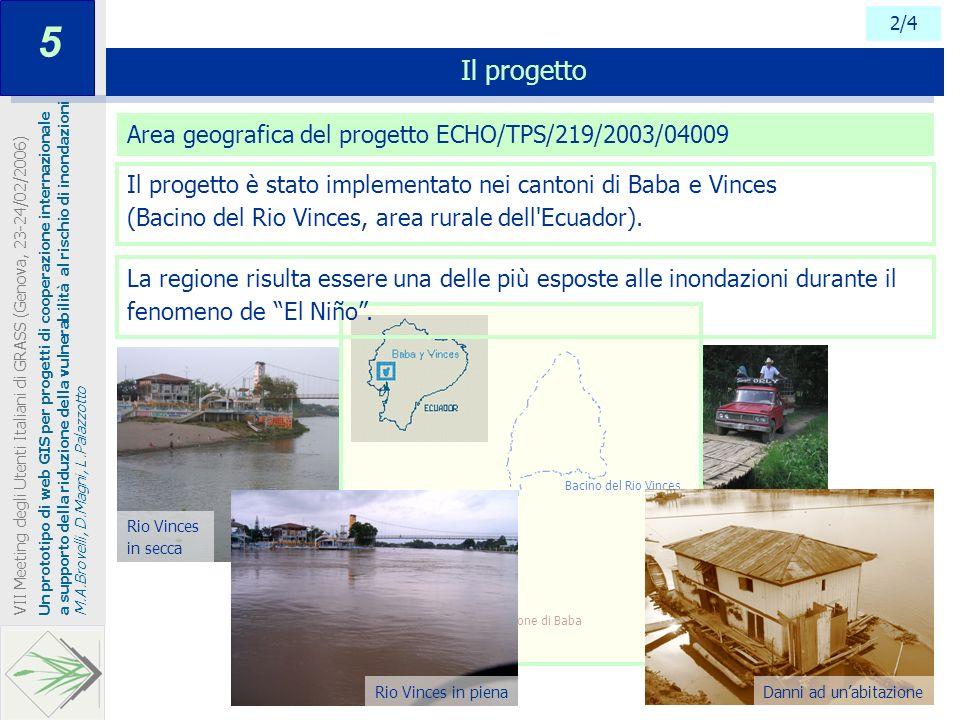 Rio Vinces in secca Vie di fuga 2/4 Il progetto Un prototipo di web GIS per progetti di cooperazione internazionale a supporto della riduzione della v