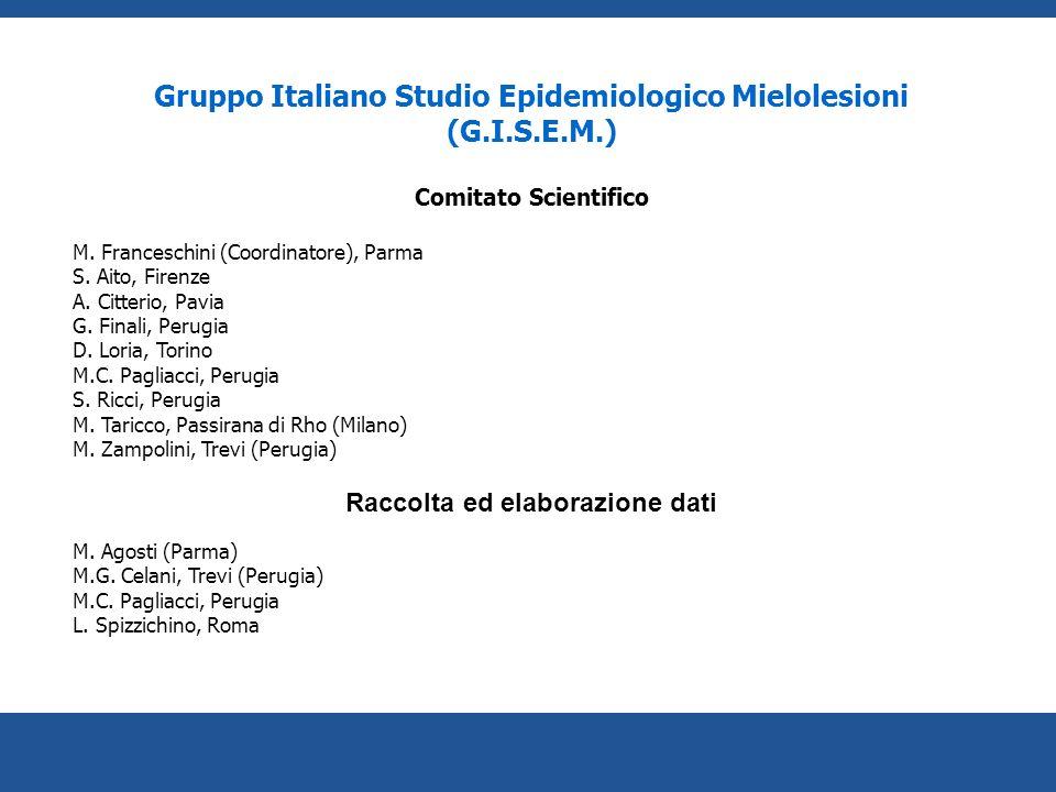 Gruppo Italiano Studio Epidemiologico Mielolesioni (G.I.S.E.M.) Comitato Scientifico M. Franceschini (Coordinatore), Parma S. Aito, Firenze A. Citteri