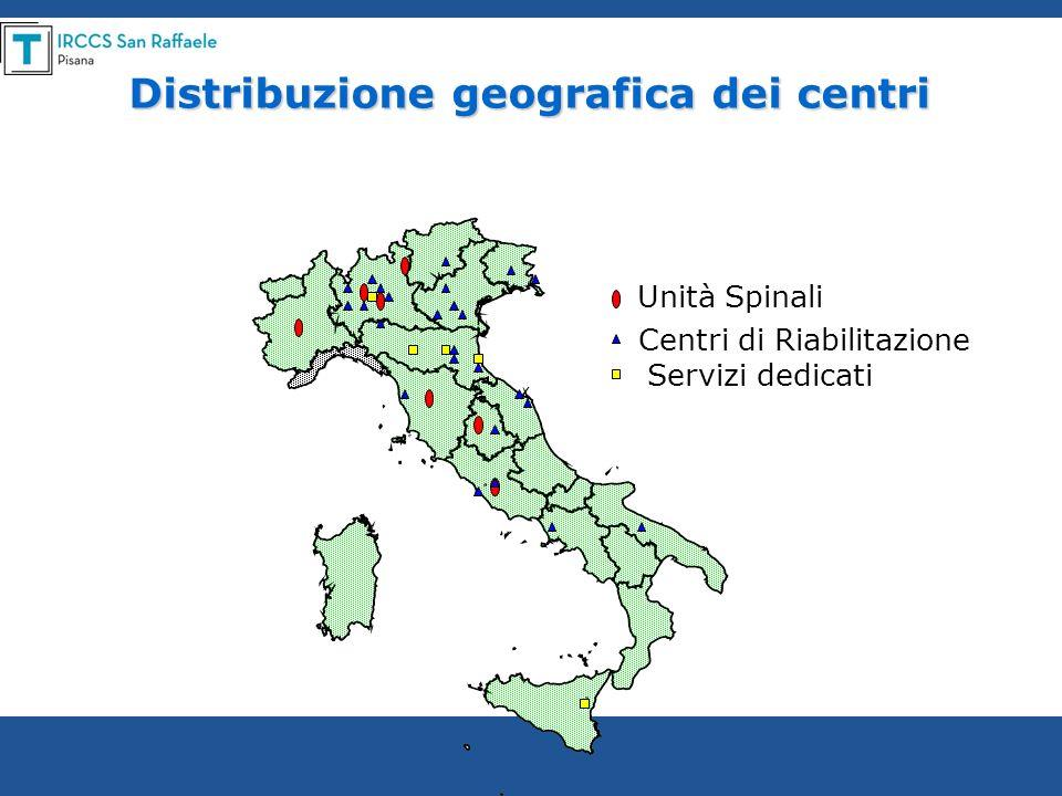 Distribuzione geografica dei centri Unità Spinali Centri di Riabilitazione Servizi dedicati