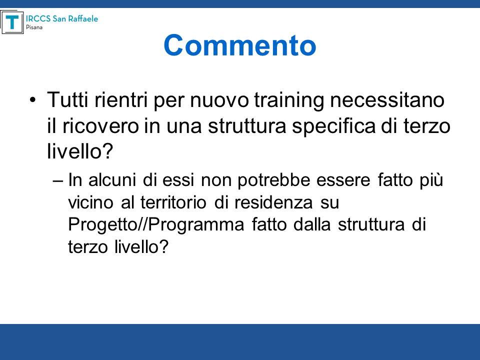 Commento Tutti rientri per nuovo training necessitano il ricovero in una struttura specifica di terzo livello? –In alcuni di essi non potrebbe essere