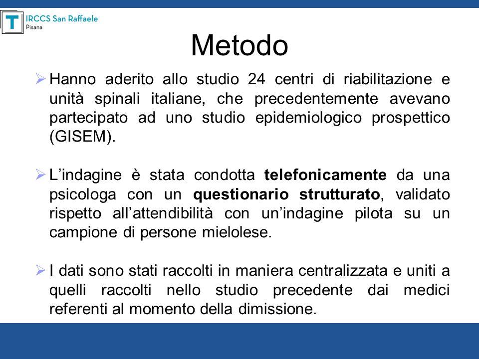 Metodo Hanno aderito allo studio 24 centri di riabilitazione e unità spinali italiane, che precedentemente avevano partecipato ad uno studio epidemiol