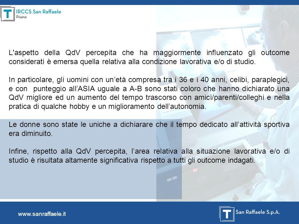 www.sanraffaele.it L'aspetto della QdV percepita che ha maggiormente influenzato gli outcome considerati è emersa quella relativa alla condizione lavo