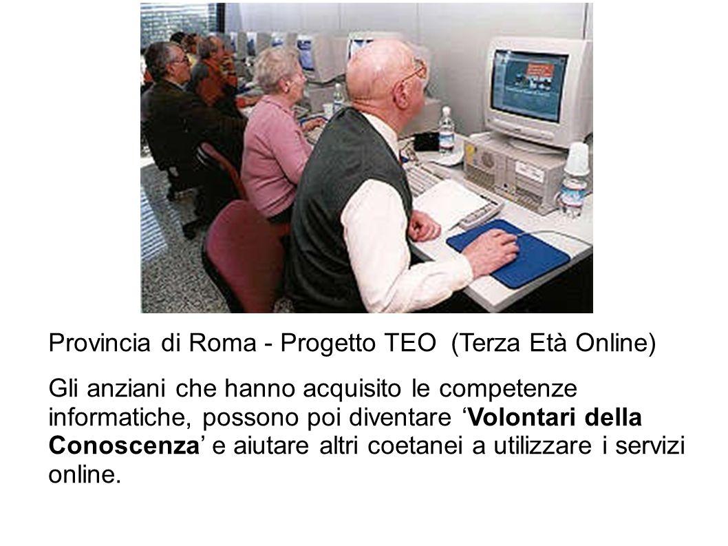 Provincia di Roma - Progetto TEO (terza età online) Provincia di Roma - Progetto TEO (Terza Età Online) Gli anziani che hanno acquisito le competenze
