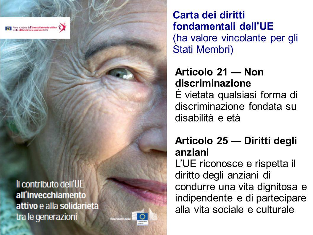 Carta dei diritti fondamentali dellUE (ha valore vincolante per gli Stati Membri) Articolo 21 Non discriminazione È vietata qualsiasi forma di discrim