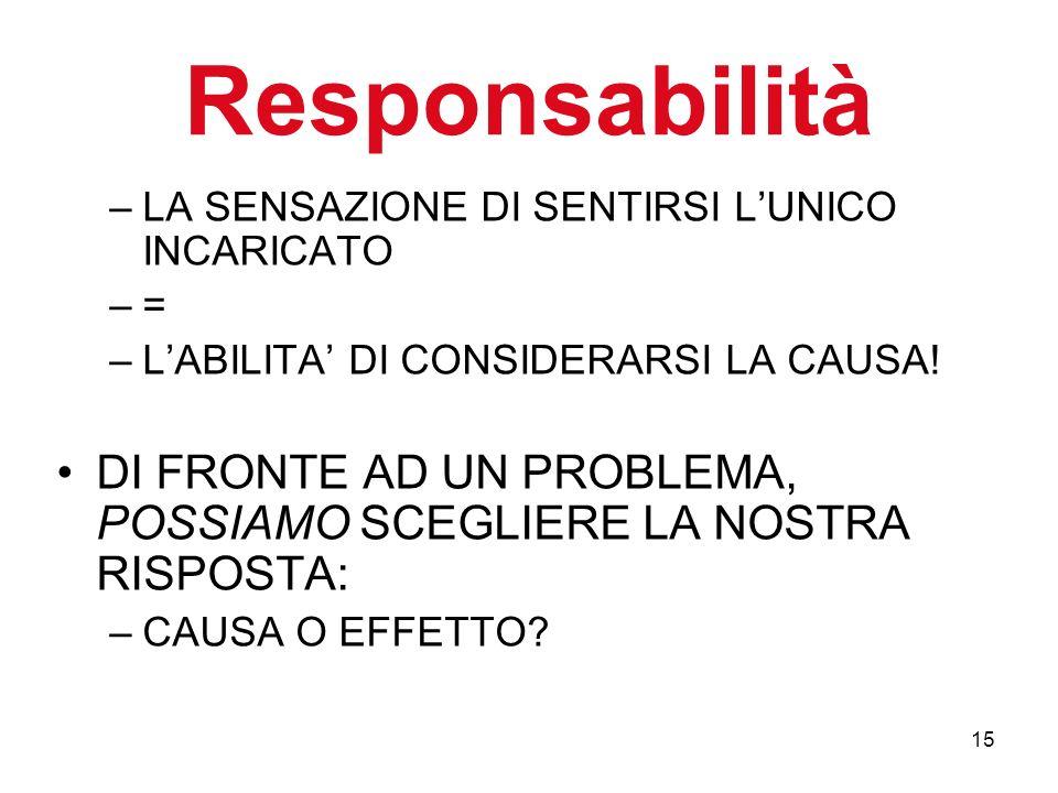 15 Responsabilità –LA SENSAZIONE DI SENTIRSI LUNICO INCARICATO –=–= –LABILITA DI CONSIDERARSI LA CAUSA.