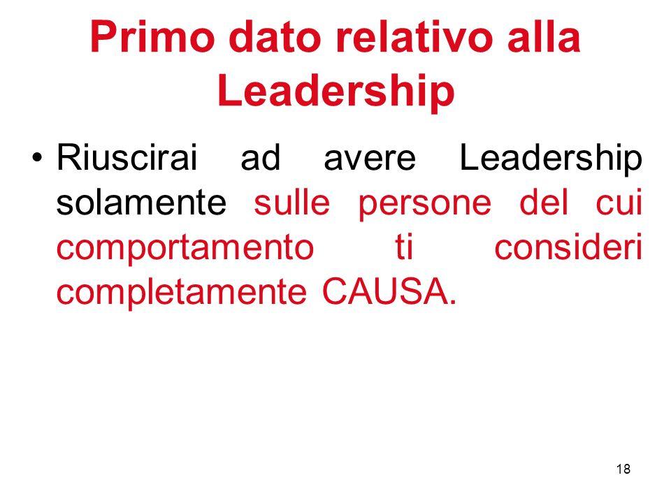 18 Primo dato relativo alla Leadership Riuscirai ad avere Leadership solamente sulle persone del cui comportamento ti consideri completamente CAUSA.