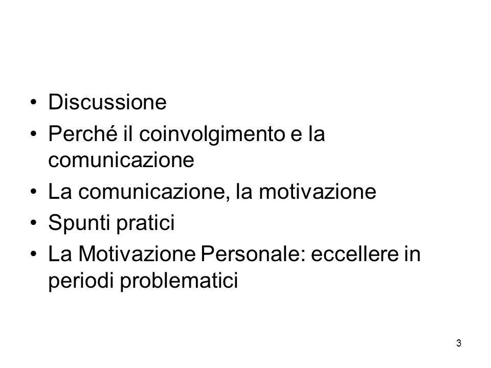 3 Discussione Perché il coinvolgimento e la comunicazione La comunicazione, la motivazione Spunti pratici La Motivazione Personale: eccellere in periodi problematici