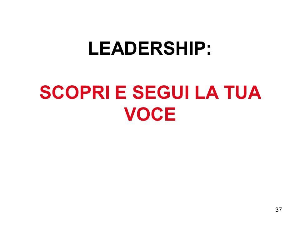 37 LEADERSHIP: SCOPRI E SEGUI LA TUA VOCE