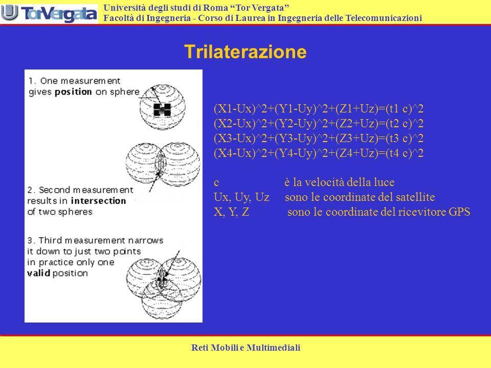 Università degli studi di Roma Tor Vergata Facoltà di Ingegneria - Corso di Laurea in Ingegneria delle Telecomunicazioni Reti Mobili e Multimediali Tr