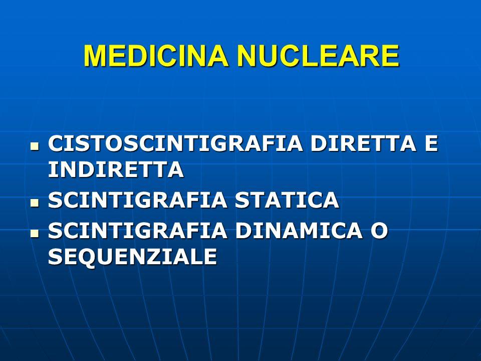 MEDICINA NUCLEARE CISTOSCINTIGRAFIA DIRETTA E INDIRETTA CISTOSCINTIGRAFIA DIRETTA E INDIRETTA SCINTIGRAFIA STATICA SCINTIGRAFIA STATICA SCINTIGRAFIA D