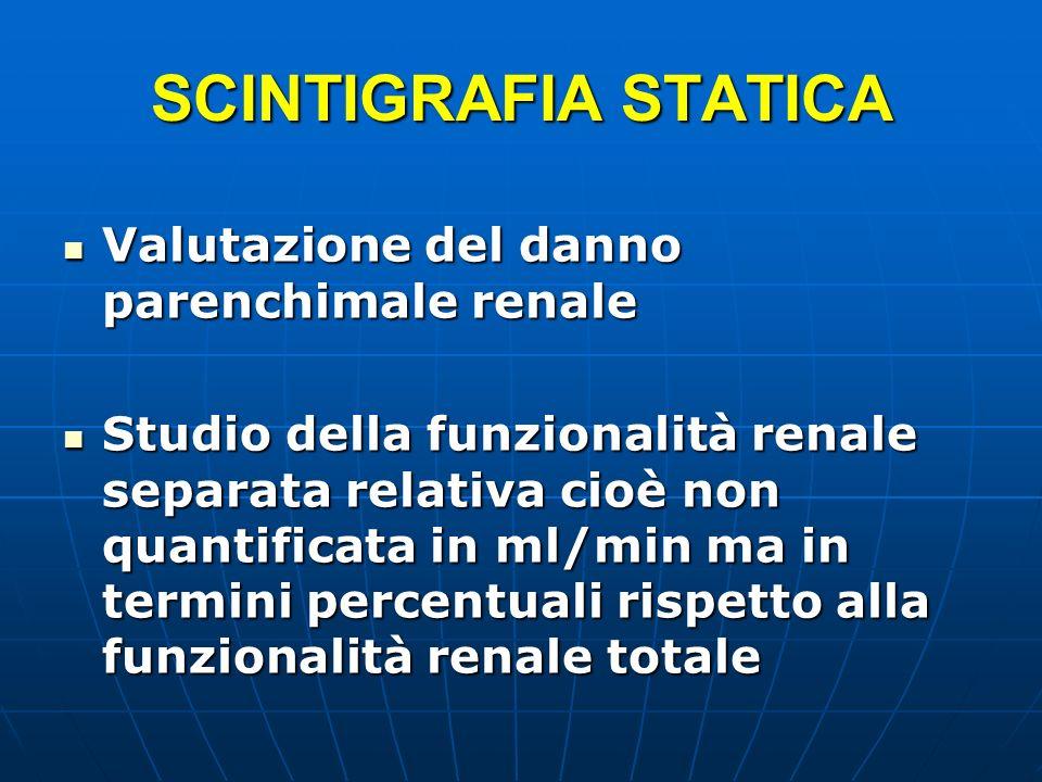 SCINTIGRAFIA STATICA Valutazione del danno parenchimale renale Valutazione del danno parenchimale renale Studio della funzionalità renale separata rel