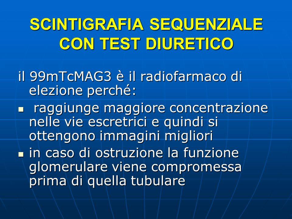 SCINTIGRAFIA SEQUENZIALE CON TEST DIURETICO il 99mTcMAG3 è il radiofarmaco di elezione perché: raggiunge maggiore concentrazione nelle vie escretrici
