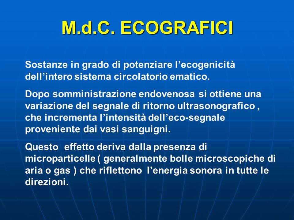 M.d.C. ECOGRAFICI Sostanze in grado di potenziare lecogenicità dellintero sistema circolatorio ematico. Dopo somministrazione endovenosa si ottiene un