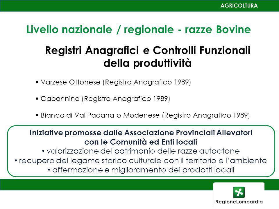 Registri Anagrafici e Controlli Funzionali della produttività Varzese Ottonese (Registro Anagrafico 1989) Cabannina (Registro Anagrafico 1989) Bianca
