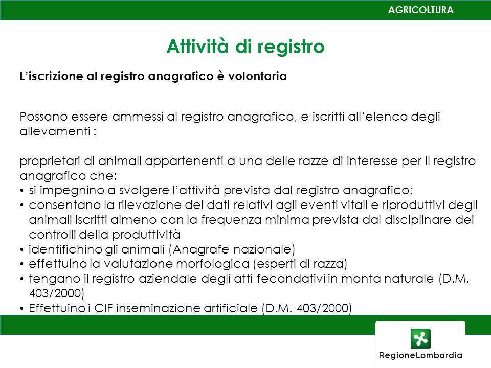 Attività di registro Liscrizione al registro anagrafico è volontaria Possono essere ammessi al registro anagrafico, e iscritti allelenco degli allevam