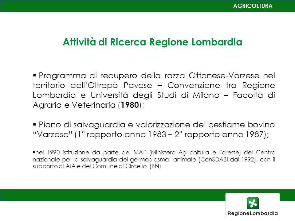 Attività di Ricerca Regione Lombardia Programma di recupero della razza Ottonese-Varzese nel territorio dellOltrepò Pavese – Convenzione tra Regione L