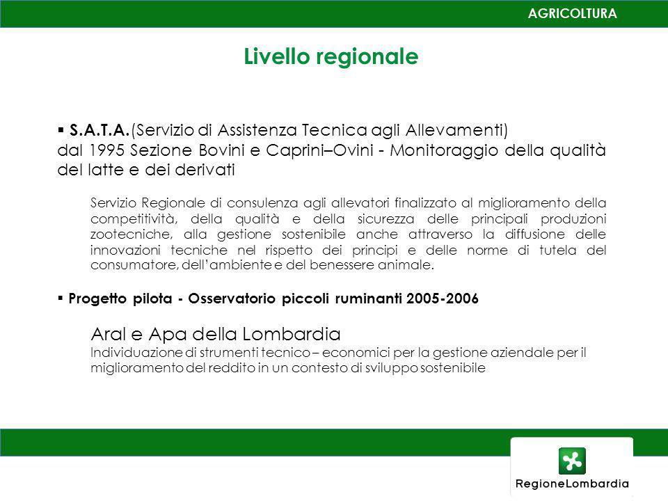 Livello regionale S.A.T.A. (Servizio di Assistenza Tecnica agli Allevamenti) dal 1995 Sezione Bovini e Caprini–Ovini - Monitoraggio della qualità del