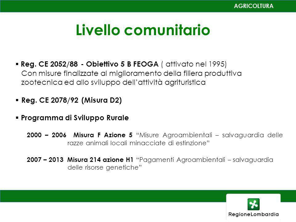Livello comunitario Reg. CE 2052/88 - Obiettivo 5 B FEOGA ( attivato nel 1995) Con misure finalizzate al miglioramento della filiera produttiva zootec