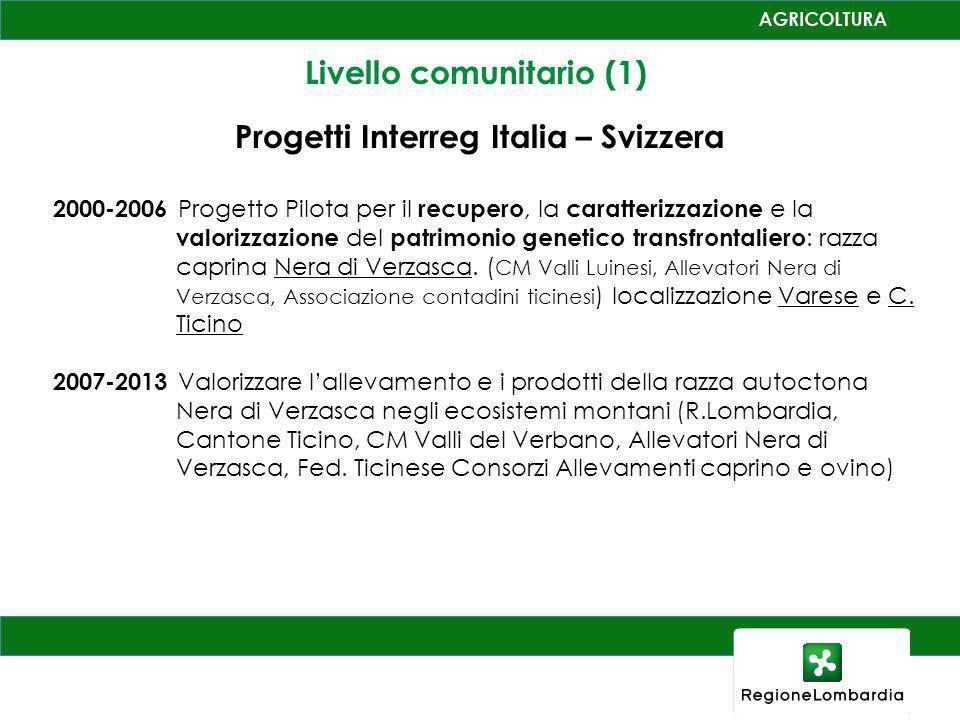 Livello comunitario (1) Progetti Interreg Italia – Svizzera 2000-2006 Progetto Pilota per il recupero, la caratterizzazione e la valorizzazione del patrimonio genetico transfrontaliero : razza caprina Nera di Verzasca.