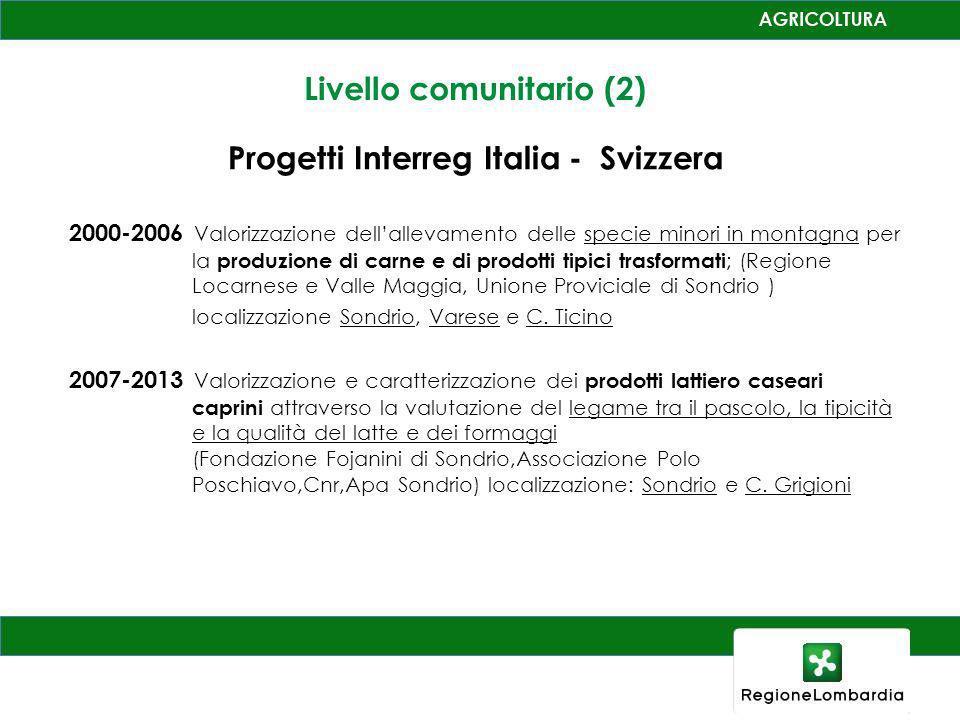Livello comunitario (2) Progetti Interreg Italia - Svizzera 2000-2006 Valorizzazione dellallevamento delle specie minori in montagna per la produzione