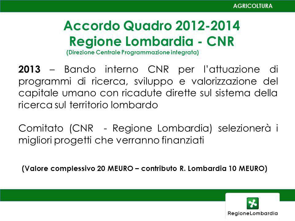 Accordo Quadro 2012-2014 Regione Lombardia - CNR (Direzione Centrale Programmazione integrata) 2013 – Bando interno CNR per lattuazione di programmi d