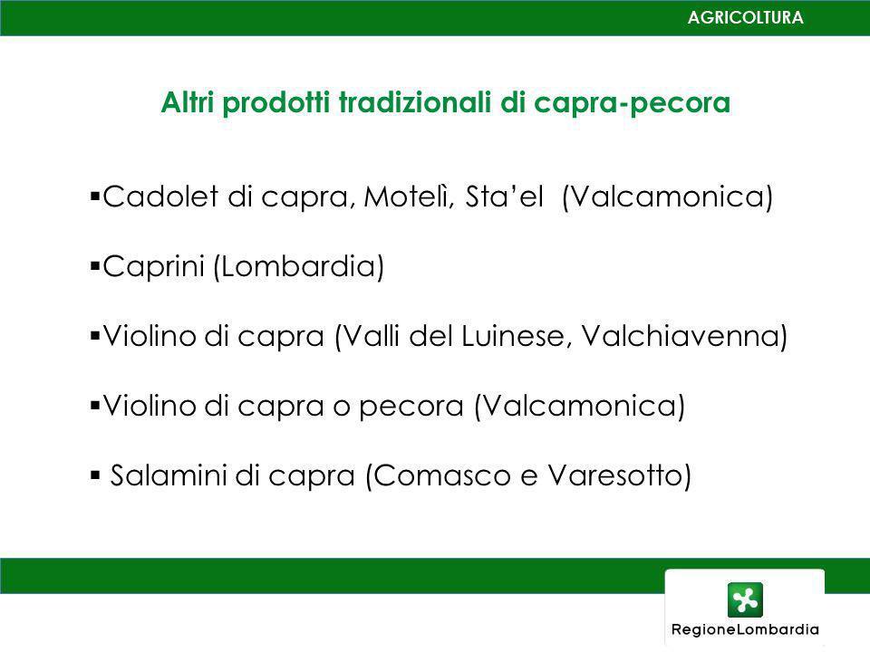 Altri prodotti tradizionali di capra-pecora Cadolet di capra, Motelì, Stael (Valcamonica) Caprini (Lombardia) Violino di capra (Valli del Luinese, Val