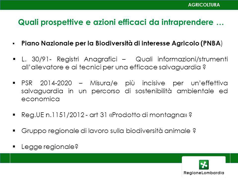 Quali prospettive e azioni efficaci da intraprendere … Piano Nazionale per la Biodiversità di interesse Agricolo (PNBA ) L. 30/91- Registri Anagrafici