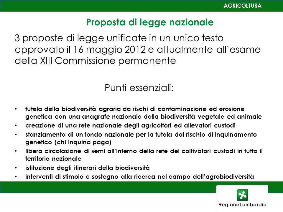 Proposta di legge nazionale 3 proposte di legge unificate in un unico testo approvato il 16 maggio 2012 e attualmente allesame della XIII Commissione